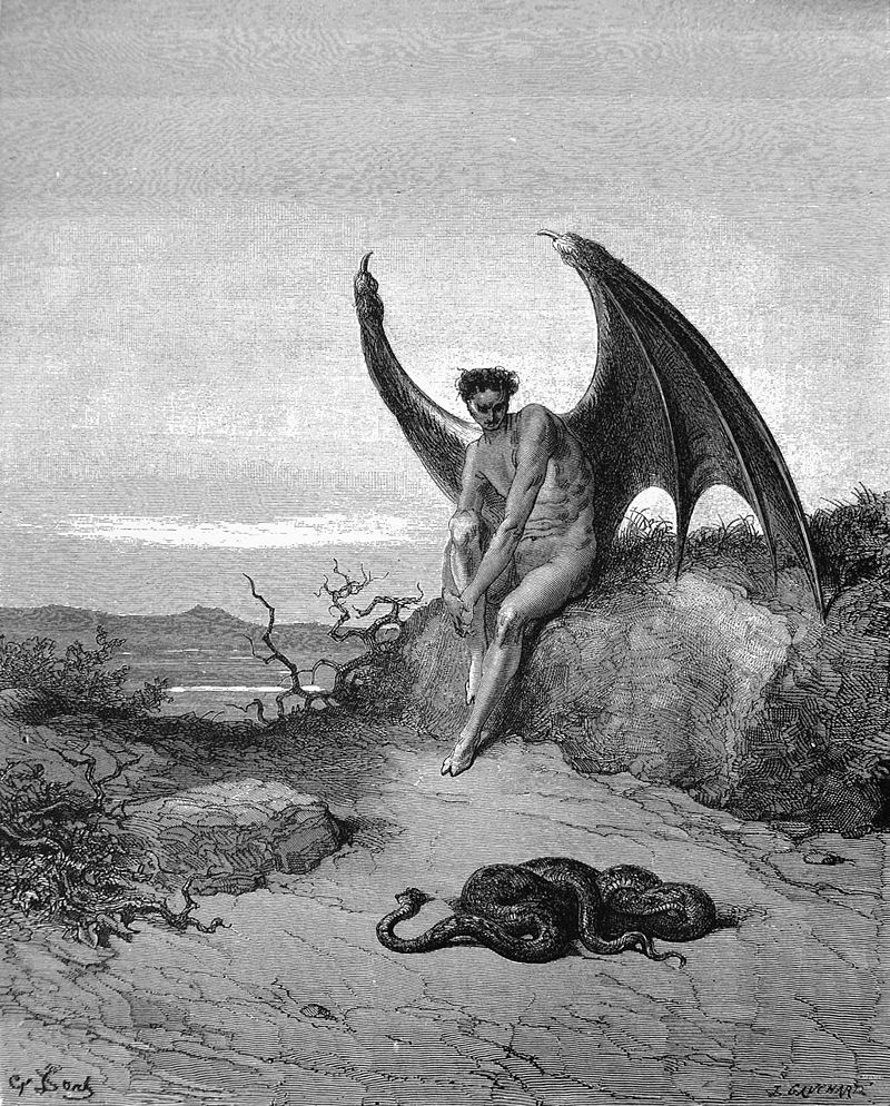 Lucifer sitting on a rock, looking at a snake on the ground.